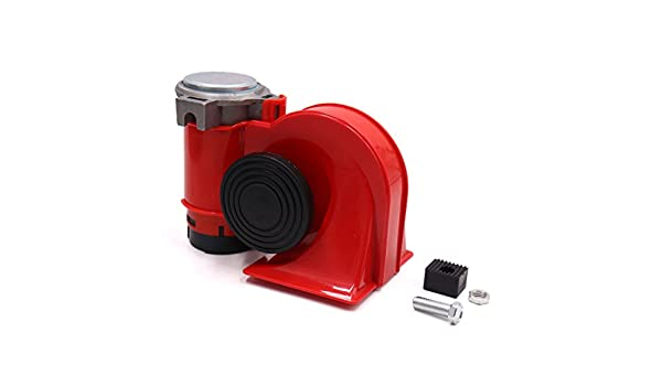 uxcell DC 12V 139dB Dual Tone Nautilus Compact Electric Air Pump Horn Red for Car