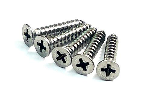 "Satin Nickel Wood Screws for Hinges #9 x 1"" Inch - 24 Pack"