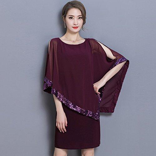 XIU*RONG La Camiseta Sin Mangas Vestidos De Vestidos De Gasa Vestido Red wine