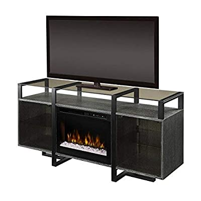 DIMPLEX Electric Fireplace, TV Stand, Media Console, Space Heater and Entertainment Center with Glass Ember Bed Set in Rift Chrome Finish - Milo #GDS26G8-1831RC