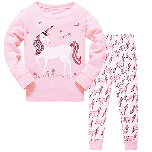 Unicorn Pajamas for Girls Cotton PJs Sets Toddler Long Sleeve Sleepwear 5T ()