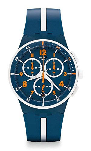 Swatch 'Whitespeed' Quartz Plastic and Silicone Casual Watch, Color:Blue (Model: SUSN403) by Swatch