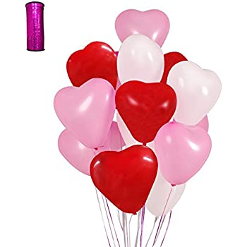 LAttLiv Valentines Day Balloons 50 Packs Heart Balloons 12 Inch Latex  Balloons For Wedding Decoration Birthday