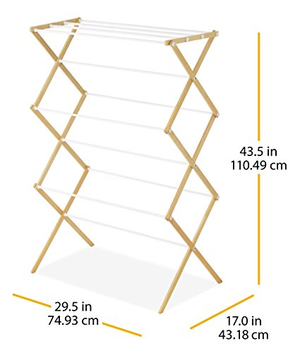 Whitmor Drying Rack with Top Shelf-Indoor and Outdoor-Foldable-Natural, Wood by Whitmor (Image #4)