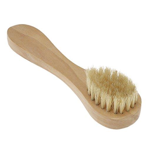 Walmeck Men's Beard Brush Boar Bristle Mustache Shaving Comb Brush Facial Hair Brush Wooden Long Handle