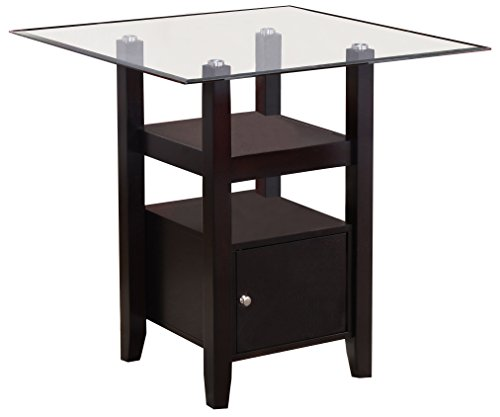 Kings Brand Furniture – Cappuccino Finish Glass Top Counter Height Dining Table Storage