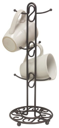 Home Basics Collection Mug Tree, Single, Bronze (Coffee Cups Hd Design)