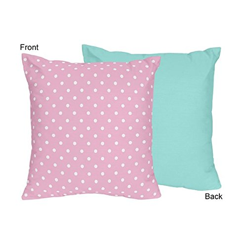 Sweet Jojo Designs Pink Polka Dot and Turquoise Girls Decorative Accent Throw Pillow for Skylar Bedding Set by Sweet Jojo Designs