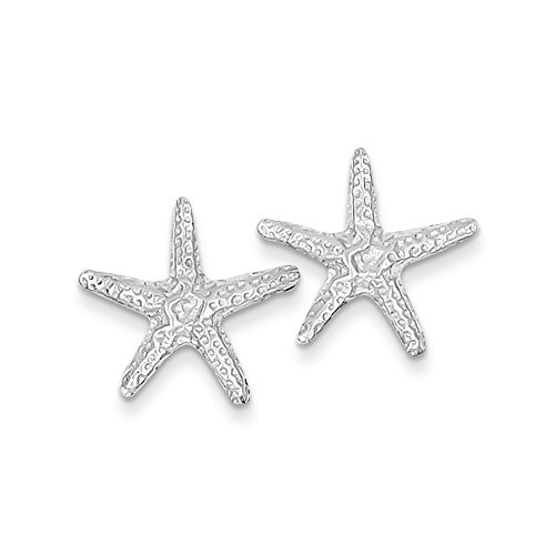 Earrings Starfish Gold White (14k White Gold Starfish Post Earrings)