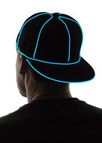 Neon Nightlife Light Up Snapback Hat, Aqua