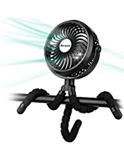 Battery Operated Stroller Fan Flexible Tripod Clip On Fan with 3 Speeds and Rotatable Handheld Personal Fan for Car Seat Crib Bike Treadmill