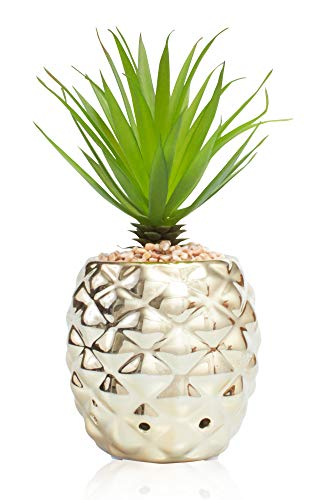 La Ceramica Home Décor Scented Pineapple Decorative Ceramic Golden Centerpiece with Hawaii Garden Fragrance Crystal Beads