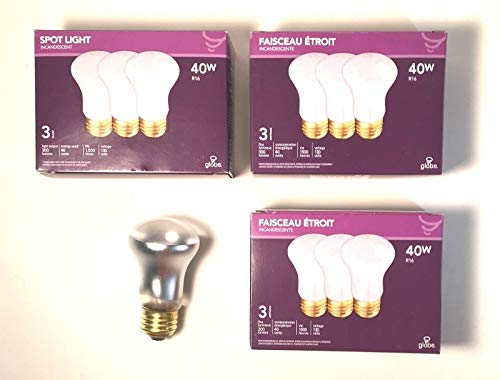 Case of 9 Incandescent Spotlight Light Bulbs R16-130 v 40 w by Globe