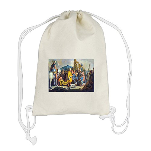 David Goliath Before Saul (Rembrandt) Cotton Canvas Backpack Drawstring (David Goliath Bags)