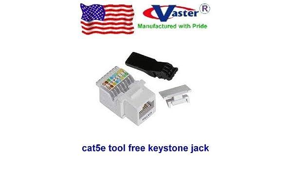 White Color Super E Cable CAT5E RJ45 Toolless Keystone Jack 00056