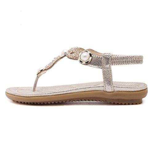Sandalias de vestir para mujer, Sandalias planas con perlas Zapatos de verano Bohemia Chanclas flip flops de playa Gold
