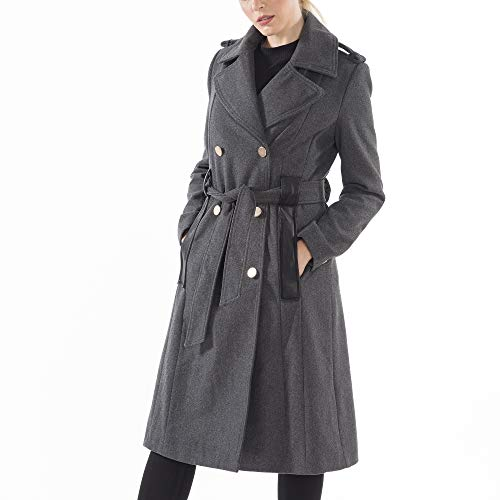 (alpine swiss Womens Trench Coat Wool Double Breast Jacket Gold Buttons with Belt)