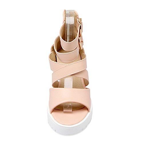 COOLCEPT Mujer Moda Al Tobillo Sandalias Punta Abierta En aumento Zapatos Rosado