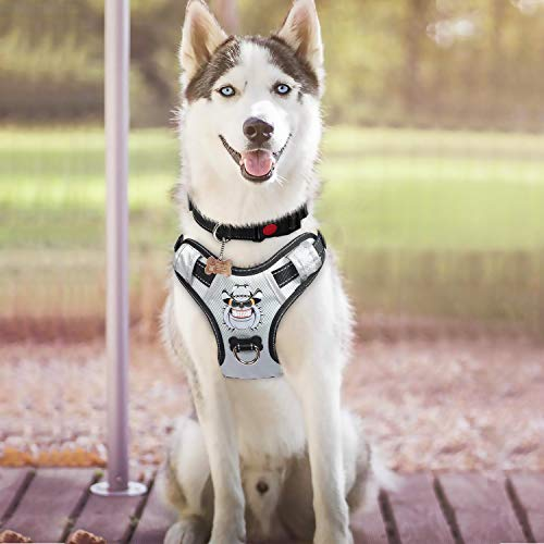 Babyltrl Silver Big Dog Harness No-Pull Anti-Tear Adjustable Pet Harness Reflective Oxford Material Soft Vest for Medium Large Dogs Easy Control Harness (Saints Dog Harness)