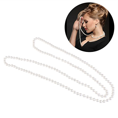 TINKSKY Fake Pearls Necklace Retro Pearls Long Necklace Chain for Party Favors Costume Necklace, for women girls
