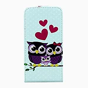 Fashionable Love The Owl Pattern Open Up and Down PU Leather Full Body Cover for iPhone 6 Phone Cases