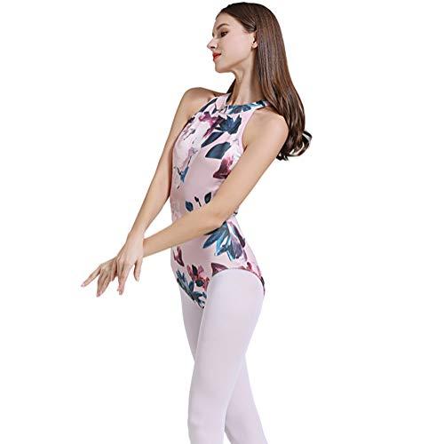 Limiles Women's Halter Neck Bodysuit Keyhole Back Gymnastic Ballet Dance Leotard Tops Dancewear Costumes (Pink Flower, S) ()
