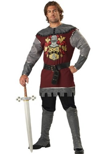 InCharacter Costumes Men's Noble Knight Costume, Silver/Burgundy, Large ()