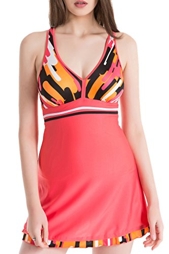 HENGJIA Women's V-Neck Beach Swimsuit One-Piece Backless Swimwear Boy Short Swimdress Bright Red 4XL(US14-16) (Palazzo Urn)