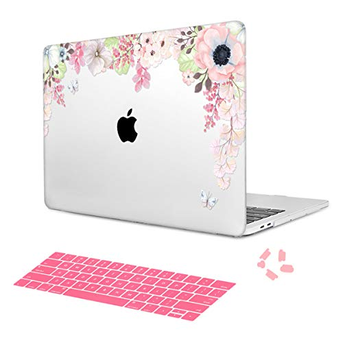 Case for MacBook Air 13 inch Models A1369 / A1466 Keyboard Cover Dust Plug with Pink Butterfly Flower Image Oil Painting Crystal Hard Shell Cover Not Compatible with 2018 Version