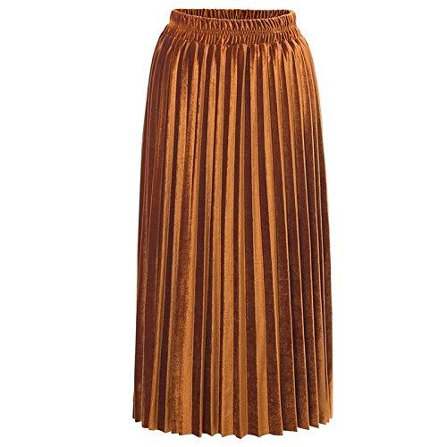 Dulan Falda elástica de Mujer Falda de Color Falda de Terciopelo ...