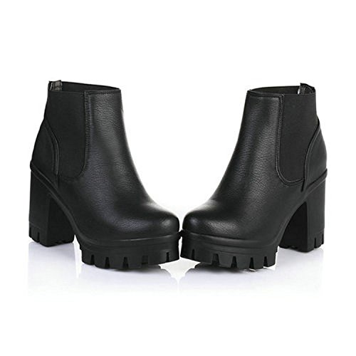 High Jerald Black Heels Thick Women Platform Boots Snow Logan Black Shoes Winter Slip On Motorcycle FraFwqEf