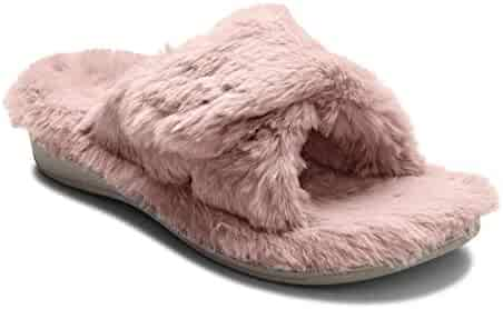 0939e5e8c1 Vionic Women's Indulge Relax Plush Slipper - Adjustable Slipper with Concealed  Orthotic Support