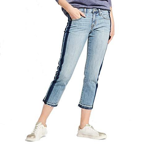 Women's Low-Rise Tuxedo Stripe Cropped Boyfriend Jeans - Mossimo (2/26R)