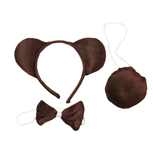 Gummy Bear Ears Headband Kids Animal Costume Ears Headband Bowtie Tail Set Polyester Material Package Included Ears, Tail, Bowtie Fits for Kids 1-10 Years Old Color Brown -