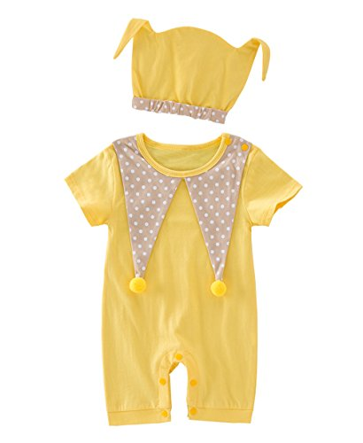 Cuddly Clown Costumes (May's Baby Toddler Cuddly Clown Costume Short Sleeves Rompers Onesie with Hat)
