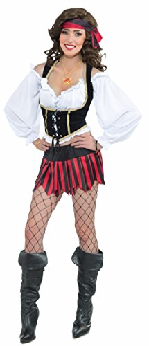 Forum Steampunk Pirate Cropped Top Blouse Shirt, White, Standard 6-14/16 -