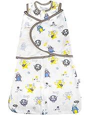 MooMoo Baby Cotton Swaddle Wrap Easy Adjustable Newborn Swaddle Sack Breathable Infant Wearable Blanket Sleepsack for Boy and Girl 3-12 Month