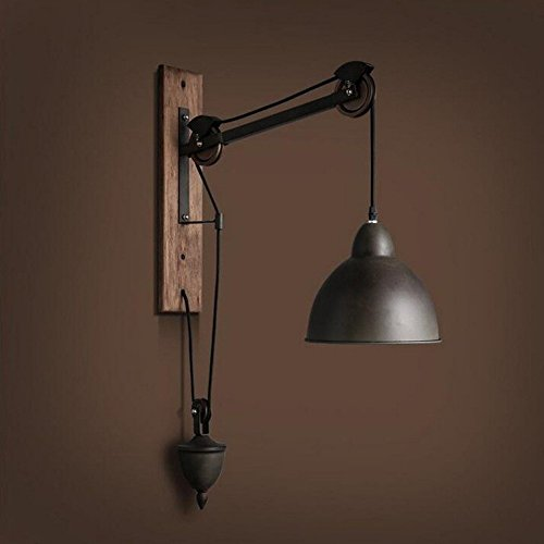 (Industrial Vintage Wall Sconces The Rural Industrial Fan Pulley Iron Wall Lights Personality Cafe Restaurant with Exquisite Wooden Wall Lamps, Decorative Wall lamp)