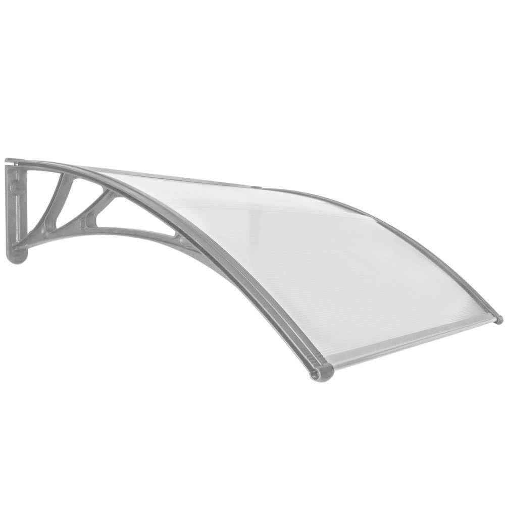 PrimeMatik - Canopy awning for door and window Patio cover shelter gray 100x100cm PrimeMatik.com