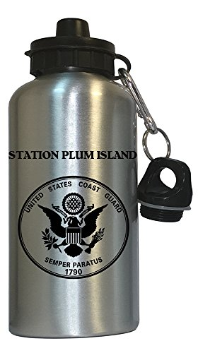 Station Plum Island - US Coast Guard Water Bottle Silver, 1028 from Custom Image Factory