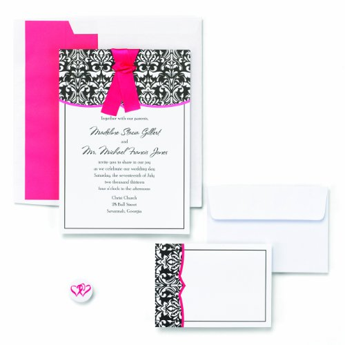 Hortense B. Hewitt Wedding Accessories Classic Damask with Fuchsia Invite Kit (White Kit Invitations Damask)