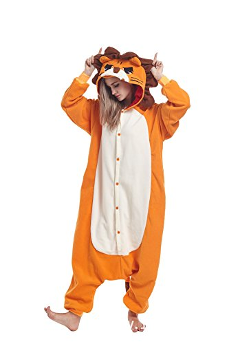 Sqlszt Women Men Adult Animal One Piece Onesie Cosplay Pajamas Costume Lion L]()