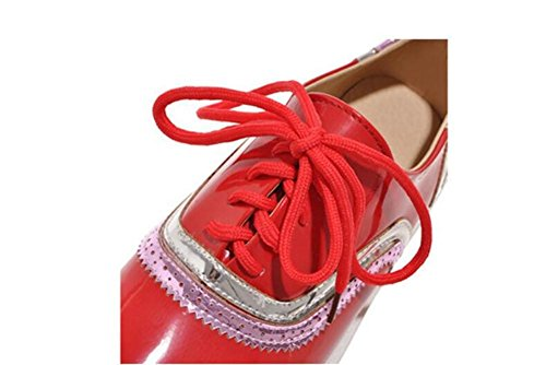 LDMB Flat Deep Mouth Lace Up Spell Couleur Casual Chaussures Court Chaussures Talon épais , red , 38