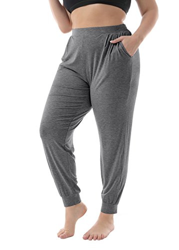 ZERDOCEAN Women's Plus Size Casual Stretchy Relaxed Lounge Pants Dark Gray 3X