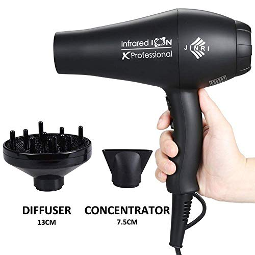 JINRI 1875W Professional Salon Hair Dryer Ionic Infrared Blow Hair Dryer With Diffuser & Concentrator Attachments for Curly Hair, Black (M1)