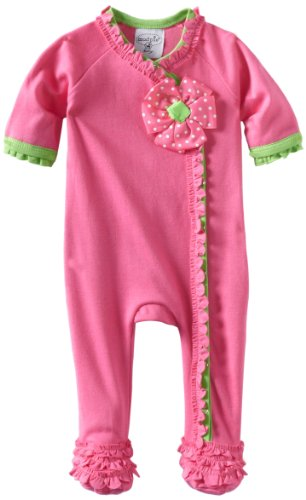 Mud Pie Baby Little Sprout Footed Cotton Sleeper with Ruffles, Pink, 0-6 Months