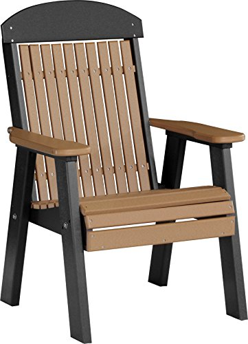 - Furniture Barn USA Outdoor High Back Chair with Arms - Cedar and Black Poly Lumber - Recycled Plastic