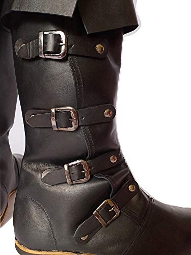 AnNafi Medieval Leather Boots 4 Buckle | Renaissance Inspired Loafer Boot | Halloween Caribbean Pirate Costume Boots | Re-Enactment Viking Mens Shoes| SCA LARP Riding Costume Boot for Cosplay | Long Boots
