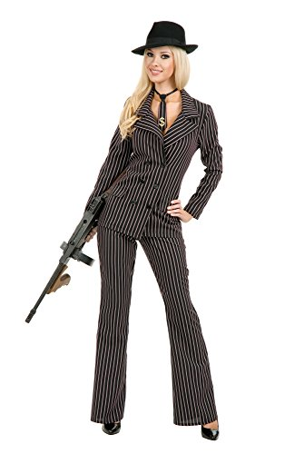 Charades Women's Gangster Moll Suit Costume, As Shown, -