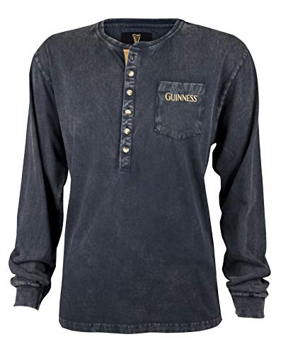 Guinness Rugby Beer - Guinness Classic Washed Black Henley Shirt,Black,XX-Large